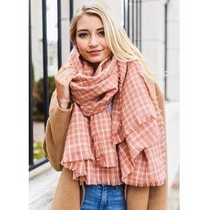 Rose & Ivory Check Plaid Fall Fringe Blanket Scarf